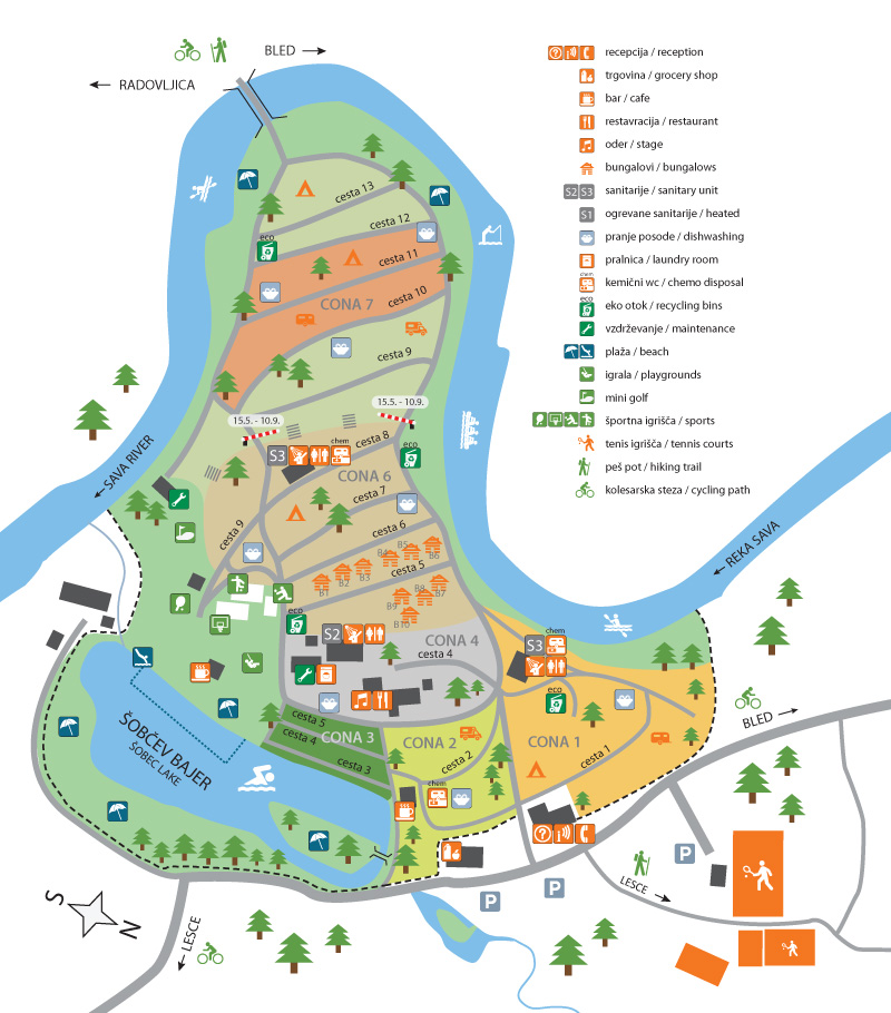 Bled, Camping Sobec - campingplatskarta