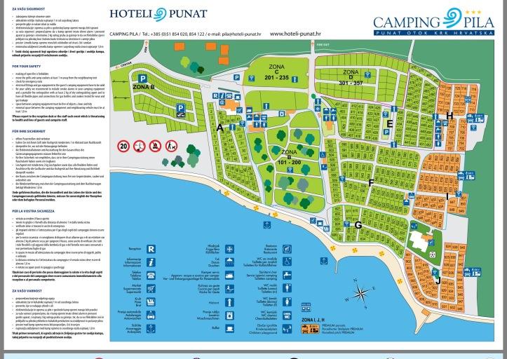 Punat, Camping Pila - campingplatskarta